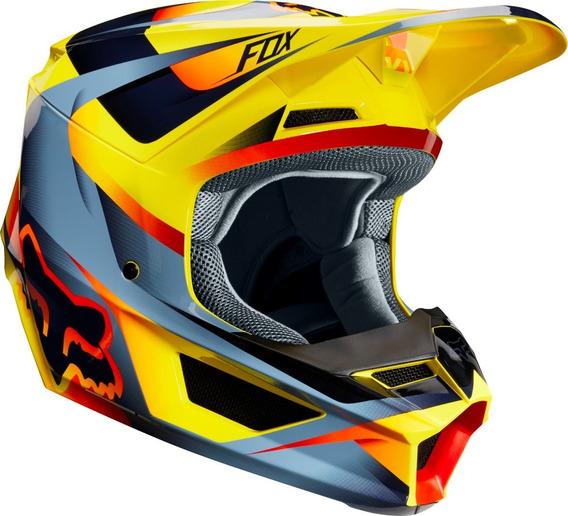 Capacete Fox V1 Mvrs Motif 19 Amarelo Cross Downhill Trilha Lançamento