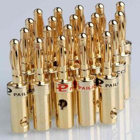 Plug Borne Banana Macho 1 Par - 2 Pçs Banhado A Ouro 4mm