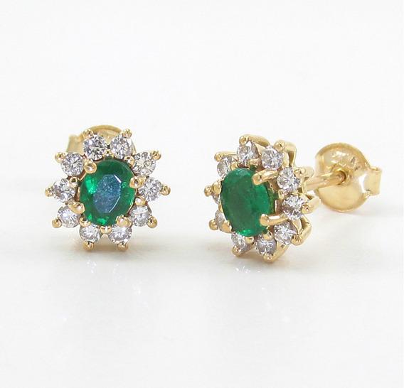 Brincos Chuveiro Esmeralda E Diamantes Ouro Amarelo 18k 750.