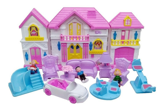 Casinha De Boneca 15 Peças Princesas Infantil Móveis Luz
