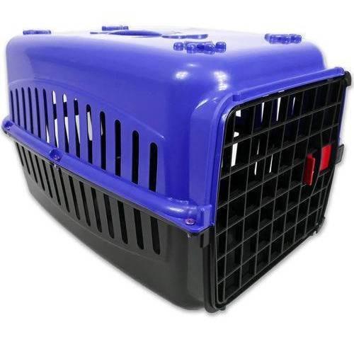 Caixa De Transporte Alça Porta Gatos Coelhos Azul/preta N2