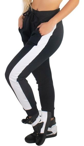 Kit 5 Calça Ribana Moletom Listra Feminina Moda Cintura Alta
