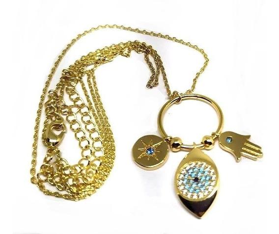 Jg1-colar Mão Deus Fatima Olho Grego Zirconias Folh Ouro