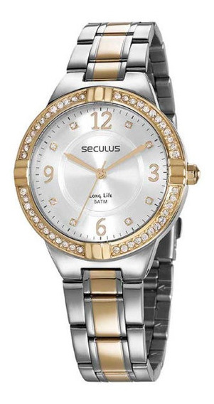 Relógio Seculus Feminino Prata/dourado Pedraria 28966lpsvba1
