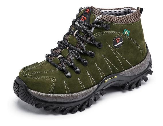 Bota Adventure Em Couro Coturno Sapato Trekking Bergally