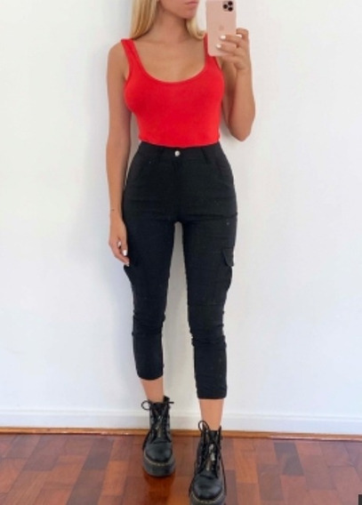 Pantalon Cargo Bolsillos Reales Calidad Elastizado Mujer