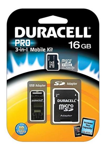 Cartão Kit 3 Em 1 Duracell Pro Micro Sd Usb 16gb Classe 10