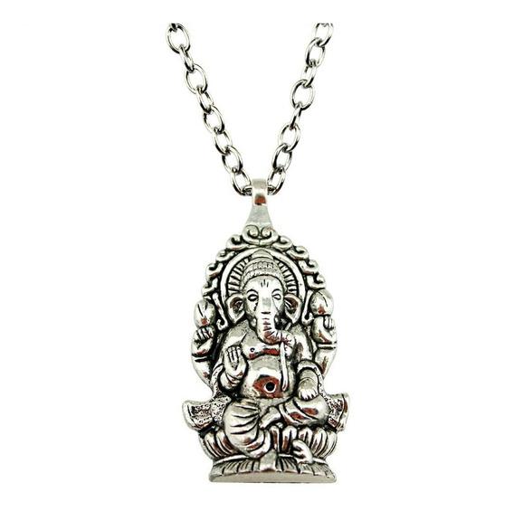 Collar Ganesha Metalico Yoga Chakras Mandala Elefante Buda