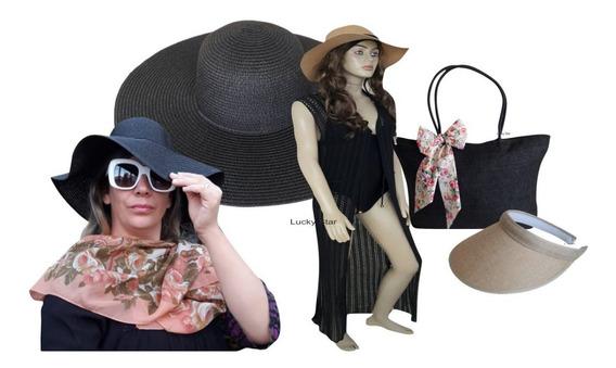 Bolsa Praia Feminino + Chapéu Floppy + Saída + Viseira Kit