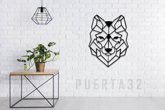 Lobo Geométrico De Madera Mediano (58cms X 42cms)