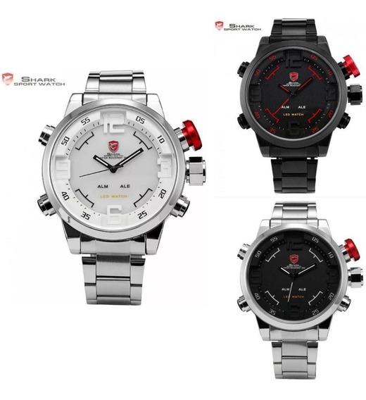 Relógio Shark Importado Digital/analógico De Led Masculino