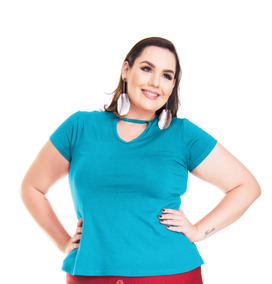 Kit 4 Roupa Feminina Blusa Bata Choker Malha Plus Size +56