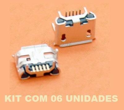 Kit C 6 Conector Carga Micro Usb 5 Pino Caixa Som Jbl Flip 2