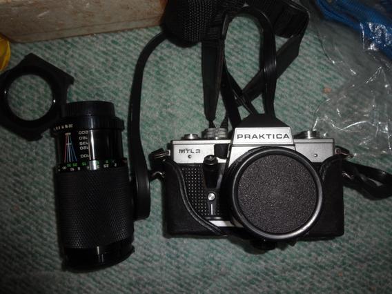 Maquina Fotografica Analogica Praktica Mtl3+flash+acessorios