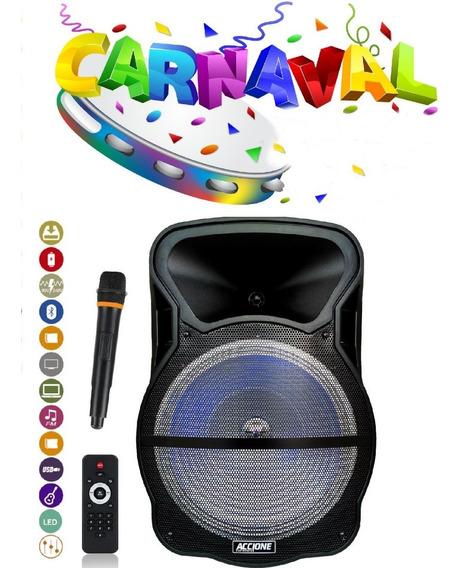 Caixa De Som Amplificada Cam 800 Bt 800w Bluetooth Microfone Usb Fm Recarregavel