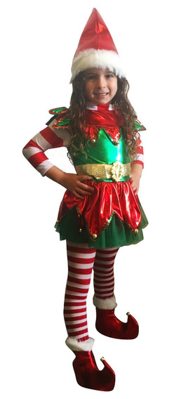 Disfraz Duende De Santa Claus Niña Envío Gratis