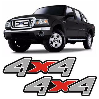 Par De Adesivos 4x4 Ford Ranger Cinza E Vermelho Emblema