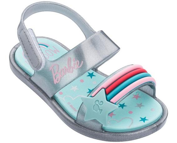 Sandália Barbie Baby Beauty Prata Arco-íris Grendene 17 À 25
