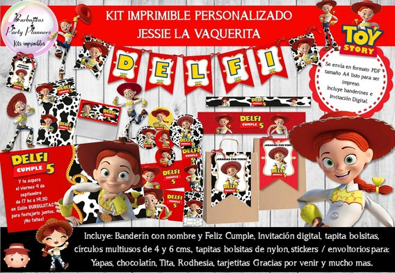 Kit Imprimible Candy Bar Jessie Toy Story Personalizado