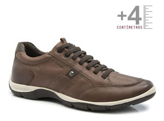 Sapatenis Ferricelli +4cm Altura Couro Confortável Marrom