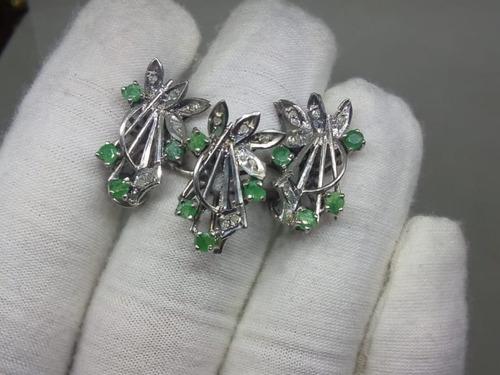 f936d8ff4f04 Juego De Plata Paladio Con Esmeraldas Y Diamantes Naturales