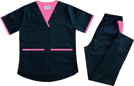 Uniforme Medico Mujer, Arciel Negro Con Vivo En Fucsia