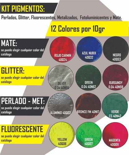 Imagen 1 de 10 de Kit 12 Colores Pigmentos Para Resina Epoxica, Porc. Liquido