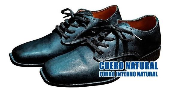 Zapato De Hombre Vestir Acordonado Cuero Vacuno Negros