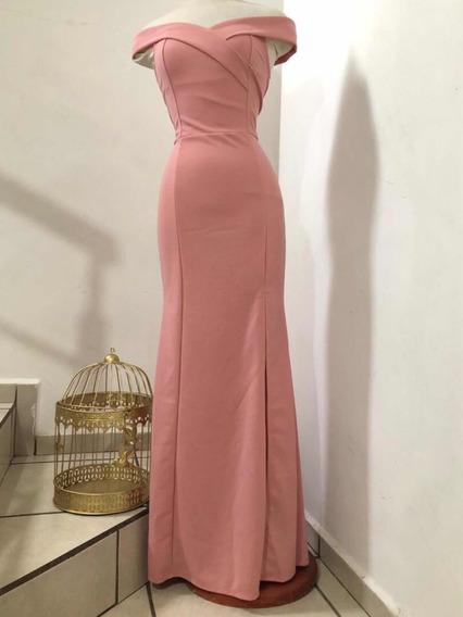 Vestido Importado Hermoso De Noche Largo Boda Escote Premium