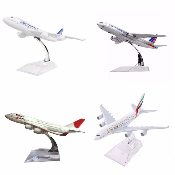 6 Pç Miniatura Aviao Metal Boeing Airbus Varios Modelos 16cm