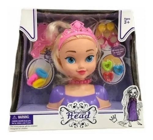 Imagen 1 de 3 de Muñeca Cabeza Princesa Para Peinar Juguete Peluqueria Nena