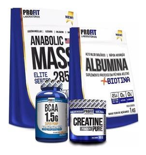 Hipercalórico Anabolic 3kg + Albumina 1kg + Bcaa + Creatina