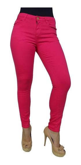 Calça Jeans Cintura Alta Rosa Claro Pink Cigarrete Feminina