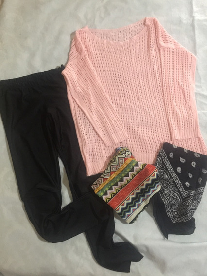 Conjunto Calzas Negras Talle S - Sweater Rosa Y Chalina