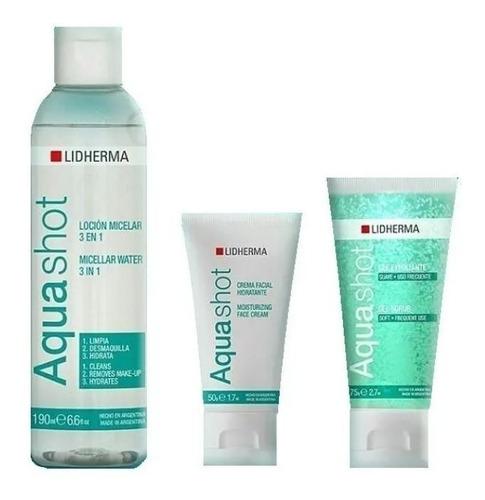 Aquashot Locion + Crema + Exfoliante Lidherma