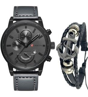 Relógio Masculino Original Curren Militar + Pulseira Ancora