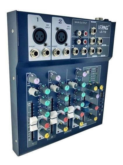 Mesa Controladora De Som Usb Bluetooth 4 Canais Le710 Oferta