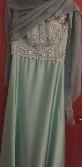 Vestido De Fiesta Verde Agua Oportunidad !!!
