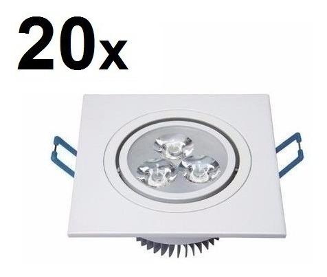 Kit 20 Spot Super Led Quadrado Embutir Dicroica Sanca 3w