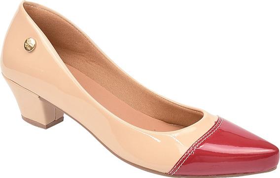 Scarpin Feminino Bicolor Conforto Salto Médio Bico Fino Marfim-vermelho Ref: 36.005