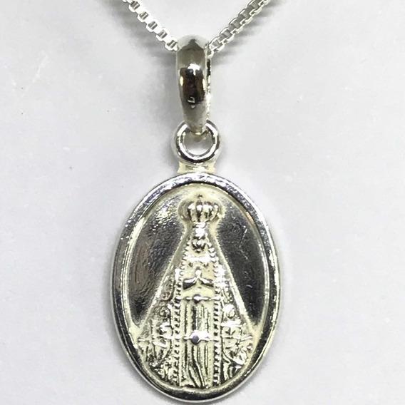 Medalha Nossa Senhora Aparecida Prata 925 + Cordao (40-1)