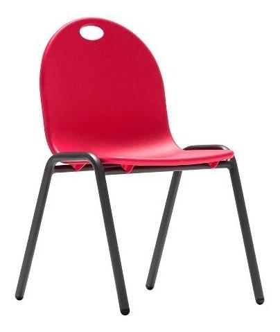 Cadeira Empilhável Infantil Vermelha Aço Resistente Maxchief