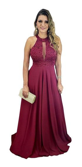 Vestido Festa Marsala - Madrinha Casamento Formatura Lindo