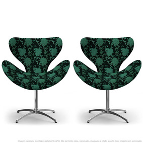 Kit 02 Cadeiras Egg Floral Verde E Preto Com Base Giratória