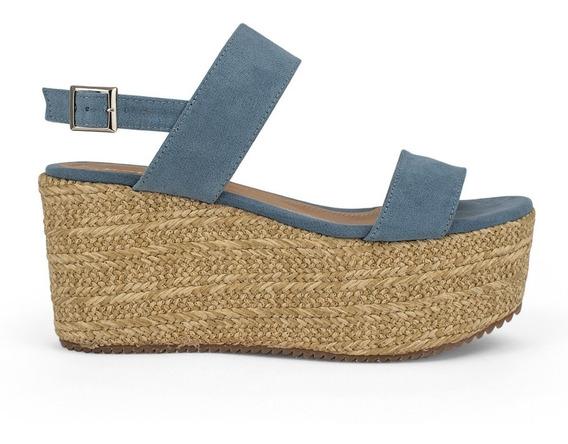 Alpargatas Zapatos Dama Plataforma Tacon Corrido Azules 9117