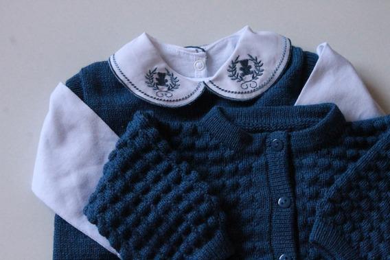 Saída Maternidade Casaco Salopete Rn Azul Bebe Frio Creche