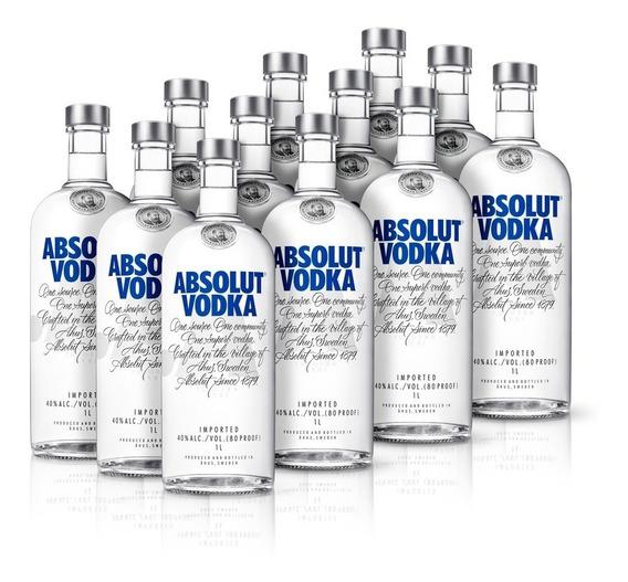 Kit Vodka Absolut Original 1l - 12 Unidades