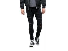 Calça Jeans Masculina Preta Rasgada Skinny Laycra Destroyed