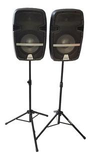 Parlantes Consola Bafles 10 P Tripodes Microfono Amwood