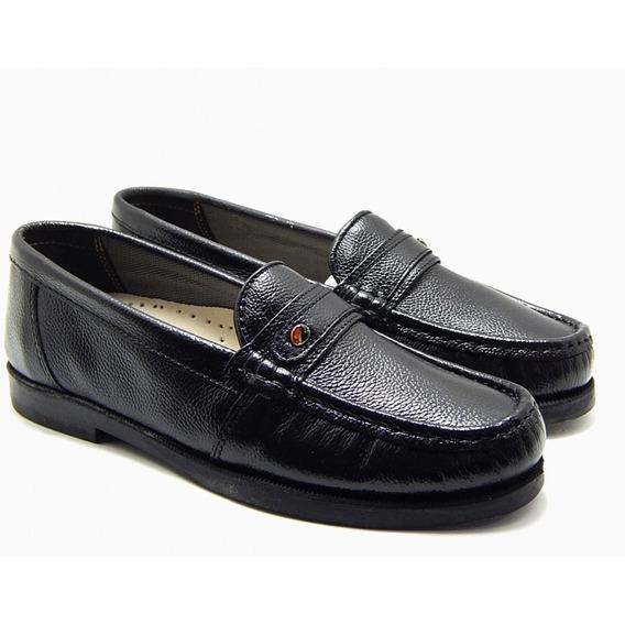 Sapato Masculino Social Abc 104 Mocassim Couro - Preto